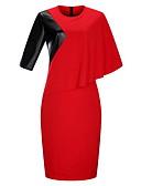 baratos Saias Femininas-Mulheres Tamanhos Grandes Algodão Tubinho Vestido - Renda, Floral Estampa Colorida Altura dos Joelhos Vermelho