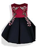 baratos Vestidos para Meninas-Menina de Vestido Sólido Floral Bordado Primavera Verão Todas as Estações Algodão Manga Curta Floral Laço Vinho