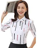 billige Topper til damer-Skjortekrage Store størrelser Bluse Dame - Stripet Arbeid
