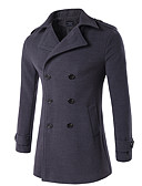 cheap Men's Jackets & Coats-Men's Daily Vintage / Street chic Fall / Winter Plus Size Regular Coat, Solid Colored Stand Long Sleeve Cotton / Polyester Dark Gray / Navy Blue / Army Green XXL / XXXL / 4XL / Double Breasted
