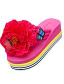 זול מכנסיים ושורטים לגברים-בגדי ריקוד נשים נעליים PU קיץ כפכפים & כפכפים שטוח בוהן עגולה פרח שחור / צהוב / פוקסיה