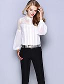 hesapli Kadın Üst Giyim-Kadın's İpek Solid Çalışma Gömlek