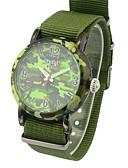 baratos Relógios da Moda-Homens Relógio de Moda Quartzo Tecido Banda Analógico Amuleto Verde - camuflagem verde