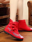 voordelige Damesbovenkleding-Dames Schoenen Weefsel Herfst / Winter Comfortabel / Espadrilles / Snowboots Laarzen Wandelen Platte hak Ronde Teen Gesp / Bloem Zwart /