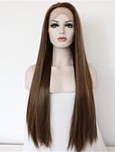 halpa Morsiusneitojen mekot-Synteettiset pitsireunan peruukit Suora Synteettiset hiukset Luonnollinen hiusviiva / Keskijakaus Ruskea Peruukki Naisten Pitkä Lace Front