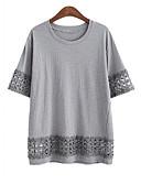 preiswerte T-Shirt-Damen Volltonfarbe - Klassisch & Zeitlos T-shirt Künsterlischer Stil / Sommer / Ausgeschnitten