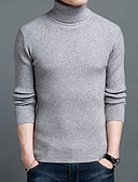 cheap Men's Sweaters & Cardigans-Men's Party Long Sleeve Wool Pullover - Solid Colored Turtleneck