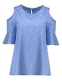 baratos Blusas Femininas-Mulheres Tamanhos Grandes Camiseta Galáxia Algodão / Verão / Com Corte