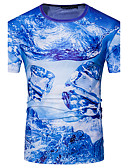 cheap Women's Two Piece Sets-Men's Sports Street chic T-shirt - Geometric, Print Round Neck