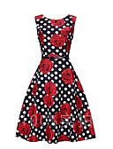 ieftine Regina Vintage-Pentru femei Vintage Patinatoare Rochie Buline Print Floral Lungime Genunchi