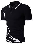 זול חולצות פולו לגברים-גיאומטרי צווארון חולצה רזה פעיל ספורט כותנה, Polo - בגדי ריקוד גברים דפוס / שרוולים קצרים