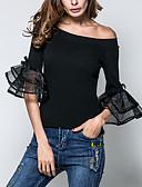 baratos Blusas Femininas-Mulheres Camiseta - Para Noite / Trabalho Moda de Rua Frufru, Sólido Algodão Decote Canoa / Verão / Outono / luva do alargamento