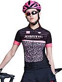 baratos Quartz-SANTIC Mulheres Manga Curta Camisa para Ciclismo - Preto / Rosa Moderno Moto Camisa / Roupas Para Esporte Blusas, Respirável Redutor de Suor, Primavera Verão Outono, 100% Poliéster / Com Stretch
