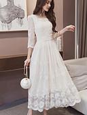 preiswerte Hochzeit Schals-Damen Lose Kleid Solide Maxi Weiß