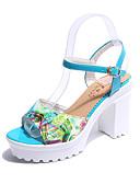 זול חלוקים & Sleepwear-בגדי ריקוד נשים נעליים PU אביב נוחות סנדלים שטוח ל קזו'אל צהוב כחול נייבי