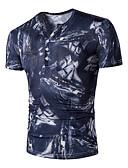baratos Camisetas & Regatas Masculinas-Homens Tamanhos Grandes Camiseta - Esportes Activo Moda de Rua Estampado Algodão Decote V