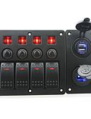 رخيصةأون فساتين للنساء-الأحمر iztoss أدت DC12 / 24V 4 عصابة على الخروج الروك التبديل لوحة المنحنية وقاطع الدائرة مع ملصقات التسمية والأزرق أدى مقبس الكهرباء