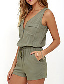 cheap Women's Jumpsuits & Rompers-Women's Going out Romper - Solid Colored V Neck / Summer