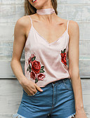 cheap Women's Tanks-Women's Party Going out Sexy Sophisticated Tank Top,Floral Halter Sleeveless Rayon Polyester