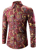 cheap Men's Shirts-Men's Vintage / Boho Plus Size Cotton Slim Shirt - Paisley Print Classic Collar / Long Sleeve / Spring / Fall