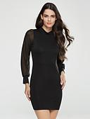 hesapli Kadın Elbiseleri-Kadın's Pamuklu Bandaj Elbise - Solid, Arkasız Dik Yaka Mini Yüksek Bel / Bahar / Sonbahar / Şalter