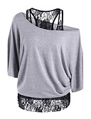 cheap Women's T-shirts-Women's Going out Sophisticated Loose T-shirt - Solid Colored / Patchwork Off Shoulder / Lace