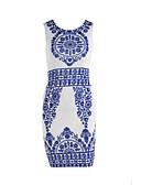 זול שמלות נשים-עד הברך דפוס שמלה צינור סגנון סיני עבודה ליציאה בגדי ריקוד נשים