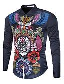 cheap Men's Shirts-Men's Chinoiserie Cotton Shirt - Check Classic Collar / Long Sleeve