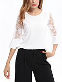 cheap Women's Blouses-Women's Beach Holiday Cute Sophisticated T-shirt - Solid Colored Patchwork Lace