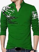 billige Selskapsklokke-Bomull Høy krage Store størrelser T-skjorte Herre Trykt mønster Fritid / Bohem / Chinoiserie Sport / Langermet