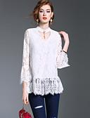 baratos Tops Femininos-Mulheres Camiseta - Para Noite / Trabalho Moda de Rua Sólido Decote V
