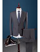 baratos Ternos-Cinzento Escuro Sólido Fino Terno - Notch / Paletó Comum 1 Botão / Suits
