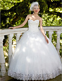 cheap Wedding Dresses-Ball Gown Sweetheart Neckline Floor Length Lace / Tulle Made-To-Measure Wedding Dresses with Sequin / Appliques by LAN TING BRIDE®
