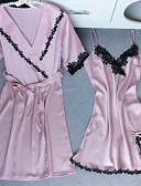 cheap Pajamas & Robes-Women's Satin Suits Satin & Silk Babydoll & Slips Nightwear Solid