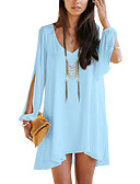 cheap Women's Tanks-Women's Batwing Sleeve Oversized Blouse - Solid Colored V Neck