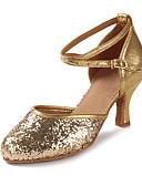 baratos Véus de Noiva-Mulheres Sapatos de Dança Latina Glitter / Paetês / Couro Envernizado Sandália / Salto Lantejoulas / Gliter com Brilho / Presilha Salto
