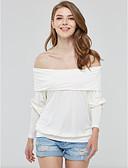 billige Overdele til damer-Bateau-hals Dame - Ensfarvet T-shirt Bomuld
