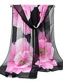 baratos Cachecol Feminino-Mulheres Férias Chiffon, Retângular - Com Transparência Floral / Tecido