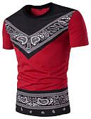 baratos Camisetas & Regatas Masculinas-Homens Camiseta - Esportes Moda de Rua Geométrica Estampado Cashemere Algodão Decote Redondo Delgado Preto e Vermelho