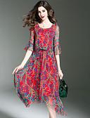 baratos Vestidos Plus Size-Mulheres Para Noite / Praia Moda de Rua Manga Alargamento Seda balanço Vestido - Franzido, Estampado Assimétrico