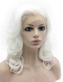 billige Brudeslør-Syntetisk blonder foran parykker Krop Bølge Syntetisk hår Naturlig hårlinje Hvit Parykk Dame Medium Lengde Blonde Forside Hvit