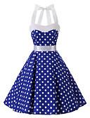 hesapli Kadın Elbiseleri-Kadın's Vintage Pamuklu Çan Elbise - Yuvarlak Noktalı Boyundan Bağlamalı Diz-boyu Mavi