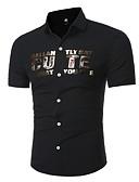 baratos Camisas Masculinas-Homens Camisa Social Temática Asiática Quadriculada Algodão Colarinho Clássico