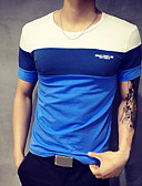 זול טישרטים לגופיות לגברים-קולור בלוק צווארון עגול ספורט מידות גדולות כותנה, טישרט - בגדי ריקוד גברים טלאים כחול ולבן / שרוולים קצרים