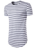 cheap Men's Blazers & Suits-Men's Sports Basic Slim T-shirt - Striped Print Round Neck / Short Sleeve / Long