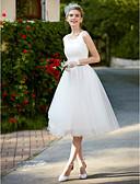 baratos Vestidos de Casamento-Linha A Decote Quadrado Até os Joelhos Renda / Tule Vestidos de casamento feitos à medida com Renda de LAN TING BRIDE® / Vestidos Brancos Justos