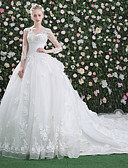 cheap Wedding Dresses-Ball Gown V Neck Cathedral Train Lace Over Tulle Made-To-Measure Wedding Dresses with Beading / Sequin / Appliques by LAN TING Express / Illusion Sleeve / Open Back