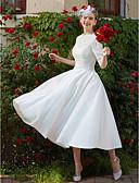 preiswerte Hochzeitskleider-A-Linie Tee-Länge Spitze Maßgeschneiderte Brautkleider mit Applikationen / Drapiert durch LAN TING BRIDE® / Transparente / ja