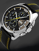 cheap Quartz Watches-SKMEI Men's Wrist Watch Quartz 30 m Water Resistant / Water Proof Calendar / date / day Chronograph Leather Band Analog Charm Black - Yellow Red Blue Two Years Battery Life / Stainless Steel