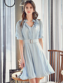 levne Dámské šaty-Dámské Roztomilý Sofistikované Šik ven Pouzdro Swing Košile Šaty - Jednobarevné, Květiny Nabírané šaty Nad kolena Do V